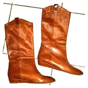 Loeffler Randall brown leather boots sz 9.5